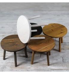 Okrągły stolik - ciosane nogi
