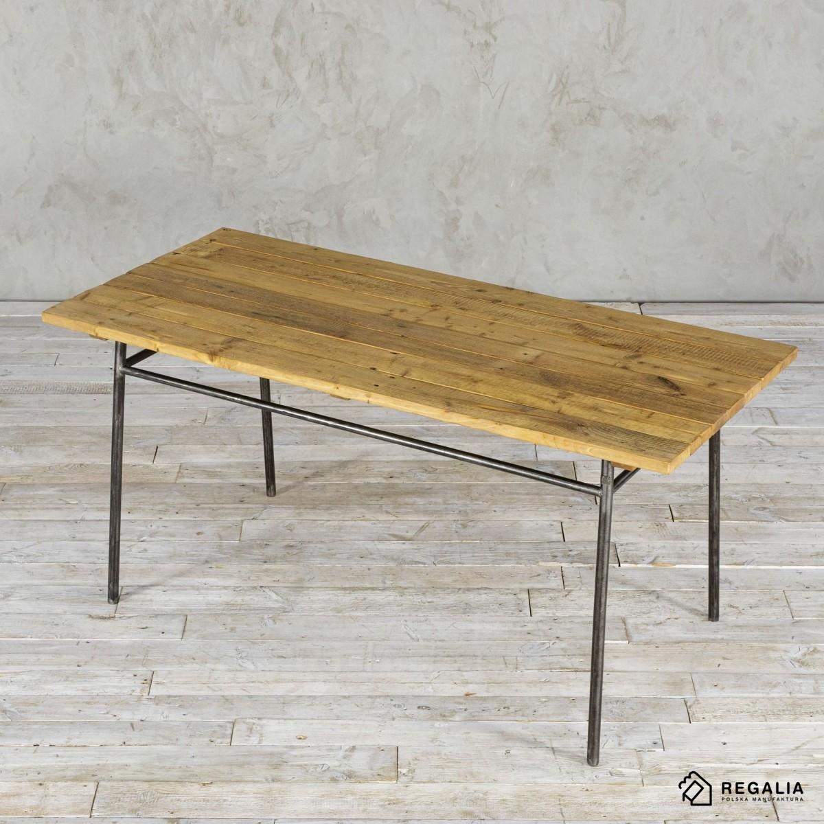 Stół ze starego drewna na metalowej podstawie no. 397