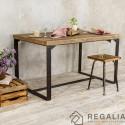 Stół ze starego drewna na podstawie ze starych kutych zawiasów no. 1